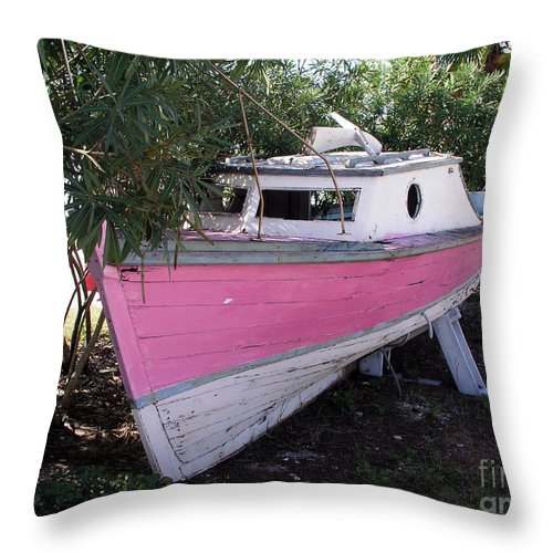 Boat; Old; Faded; Dreams; Pink; Beached; Greek; Wrecked; Paint; Florida; Ship; Flotsom; Grounded; Dr Throw Pillow featuring the photograph Beached Dreams At Port Canaveral by Allan Hughes