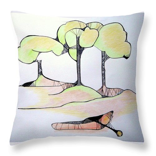 Trees Throw Pillow featuring the drawing Beached by Gloria Dietz-Kiebron