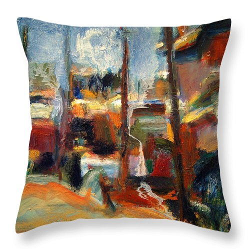 Dornberg Throw Pillow featuring the painting Beachside Homes by Bob Dornberg