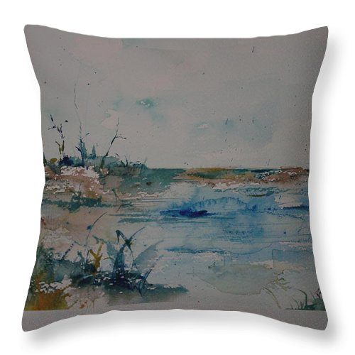 Grasses Throw Pillow featuring the painting Beachside by Robin Miller-Bookhout