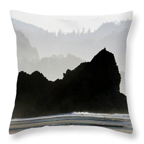 Oregon Throw Pillow featuring the photograph Beachwalk by Bob Christopher