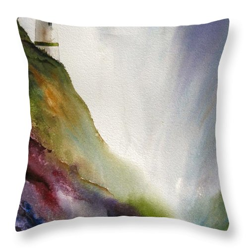 Lighthouse Throw Pillow featuring the painting Beacon by Karen Stark