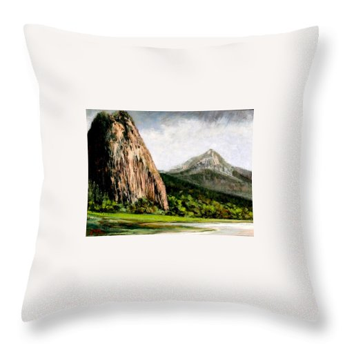 Landscape Throw Pillow featuring the painting Beacon Rock Washington by Jim Gola