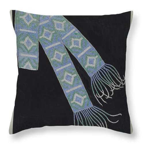 Throw Pillow featuring the drawing Bead Belt by Gordena Jackson