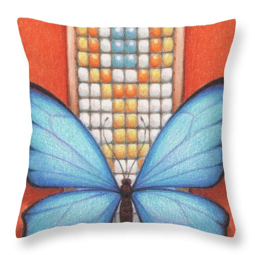 Blue Butterfly Throw Pillow featuring the drawing Beaded Morpho by Amy S Turner
