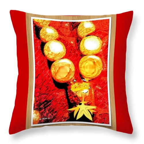 Beads Throw Pillow featuring the mixed media Beads And Baubles by Shirl Denise Frisby