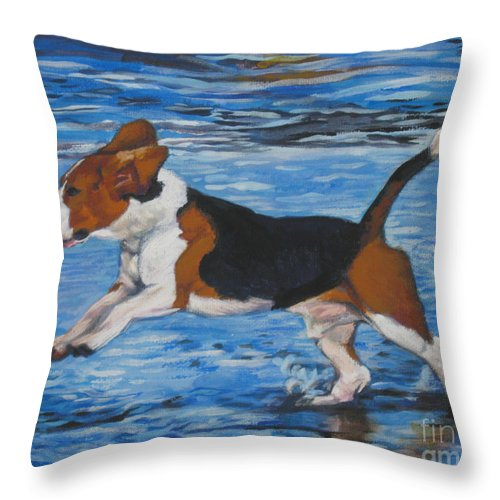 Beagle Throw Pillow featuring the painting Beagle by Lee Ann Shepard