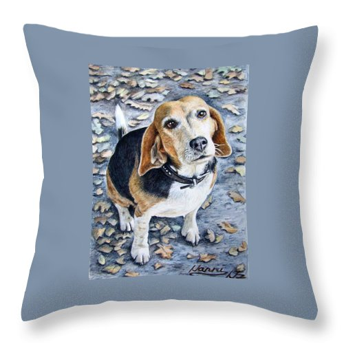 Dog Throw Pillow featuring the painting Beagle Nanni by Nicole Zeug