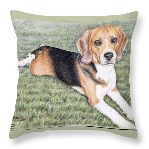Dog Throw Pillow featuring the drawing Beagle by Nicole Zeug