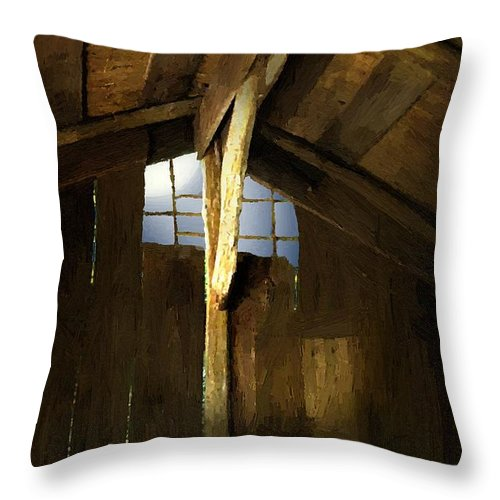 Barn Throw Pillow featuring the painting Beam Me Up by RC DeWinter
