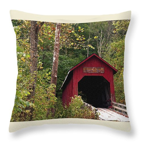 Covered Bridge Throw Pillow featuring the photograph Bean Blossom Bridge I by Margie Wildblood