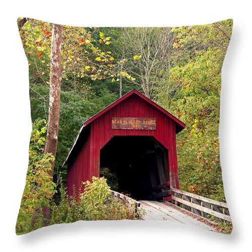 Covered Bridge Throw Pillow featuring the photograph Bean Blossom Bridge II by Margie Wildblood