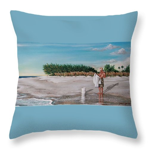 Beach Throw Pillow featuring the painting Bean Point by Joan Garcia