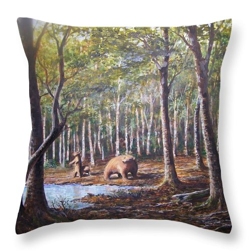 Animals Throw Pillow featuring the painting Bear And Her Cubs by Perrys Fine Art