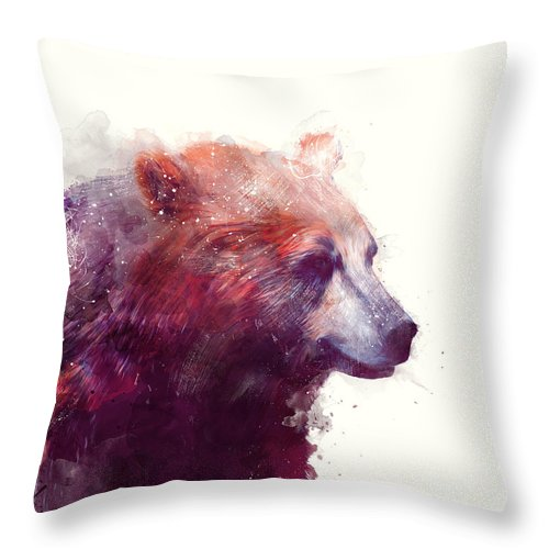 Bears Throw Pillow featuring the painting Bear // Calm by Amy Hamilton