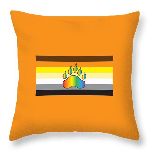 Bear Pride Throw Pillow featuring the digital art Bear Colors With Rainbow Paw by Mark Denton