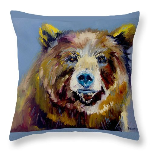 Diane Whitehead Fine Art Throw Pillow featuring the painting Bear Exposed by Diane Whitehead