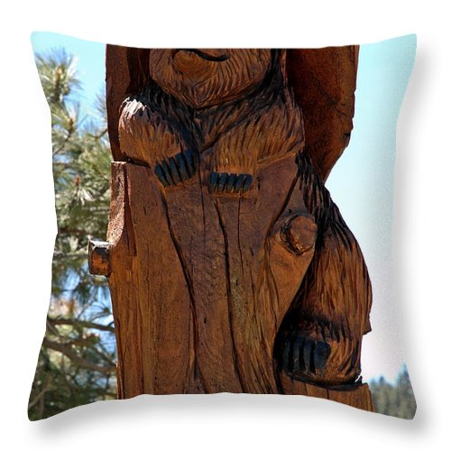 Usa Throw Pillow featuring the photograph Bear In Wood by LeeAnn McLaneGoetz McLaneGoetzStudioLLCcom