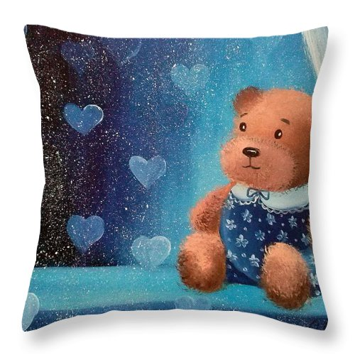 Bear Throw Pillow featuring the painting Bear by Olha Darchuk