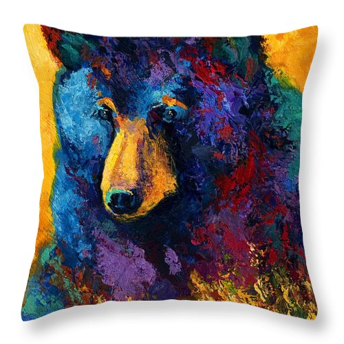 Bear Throw Pillow featuring the painting Bear Pause - Black Bear by Marion Rose