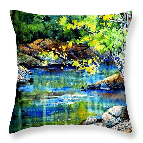 Landscape Painting Throw Pillow featuring the painting Bear Paw Stream by Hanne Lore Koehler
