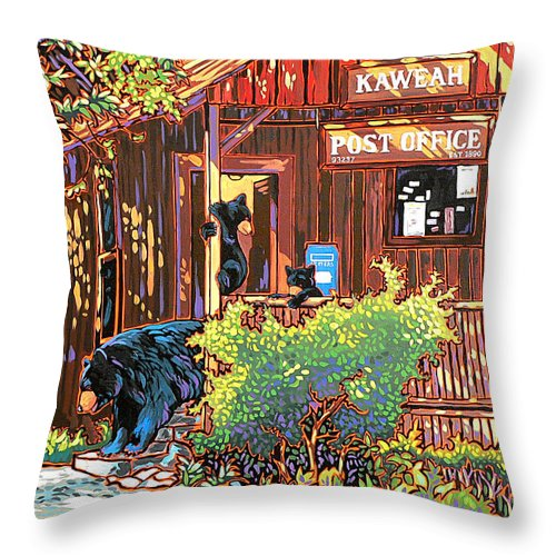 Bear Throw Pillow featuring the painting Bear Post by Nadi Spencer
