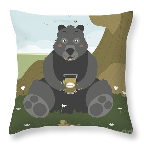 Honey Throw Pillow featuring the painting Bear With A Jar Of Honey by Pablo Romero