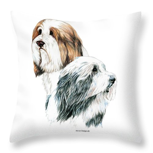 Bearded Collies Throw Pillow featuring the drawing Bearded Collies by Kathleen Sepulveda