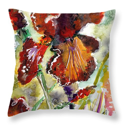 Flowers Throw Pillow featuring the painting Bearded Iris Brown Sally Watercolor by Ginette Callaway