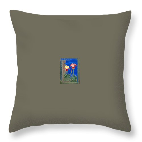Irises Throw Pillow featuring the painting Bearded Irises Cheerful Fine Art Print Giclee High Quality Exceptional Color by Baslee Troutman