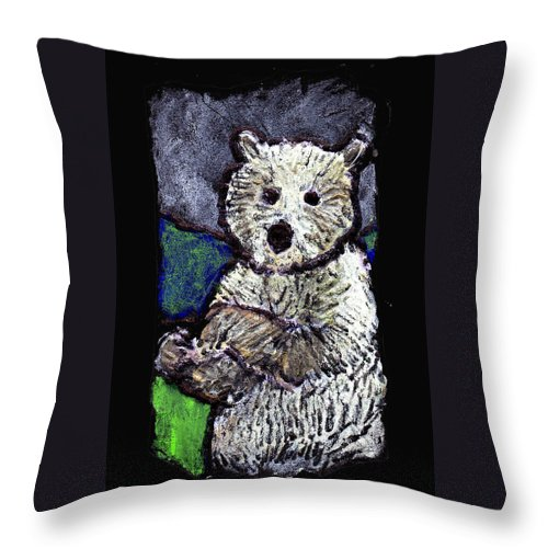 Bear Throw Pillow featuring the painting Bearly Scary by Wayne Potrafka