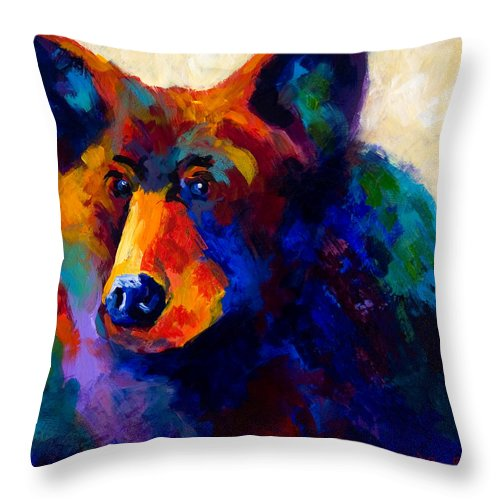 Bear Throw Pillow featuring the painting Beary Nice - Black Bear by Marion Rose