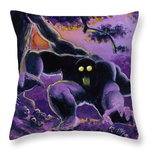 Guardian Beast Throw Pillow featuring the painting Beast by Ken Meyer jr