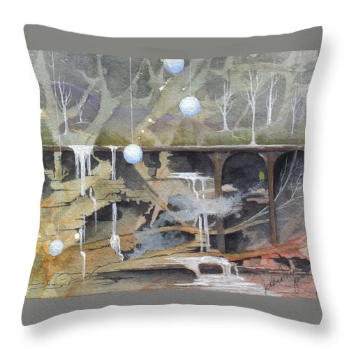 Fantasy Landscape Throw Pillow featuring the painting Beata's Destiny by Jackie Mueller-Jones