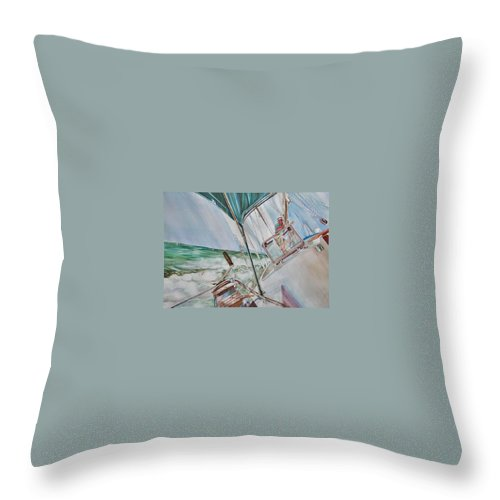 Sailing Throw Pillow featuring the painting Beating Windward by P Anthony Visco