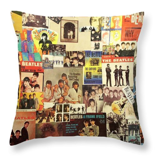 Beatles Throw Pillow featuring the digital art Beatles Collage 1 by Doug Siegel