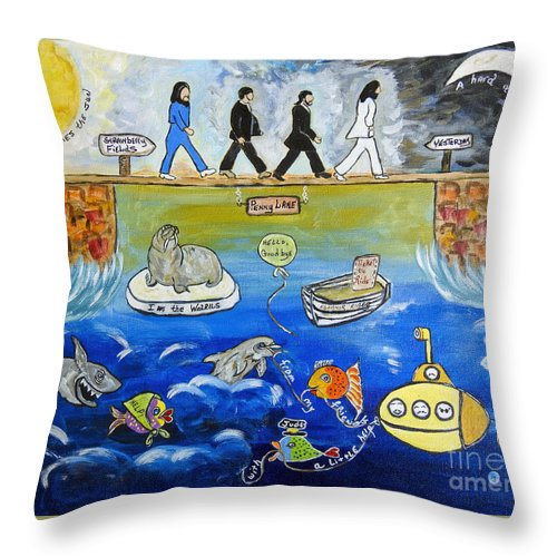 The Beatles Throw Pillow featuring the painting Beatles Song Titles Original Painting Characterization by Ella Kaye Dickey