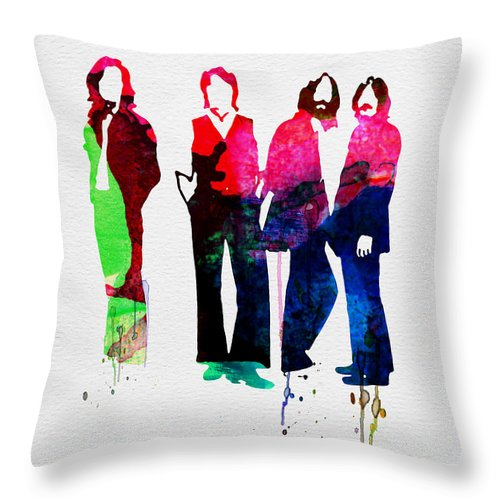 Beatles Throw Pillow featuring the painting Beatles Watercolor by Naxart Studio