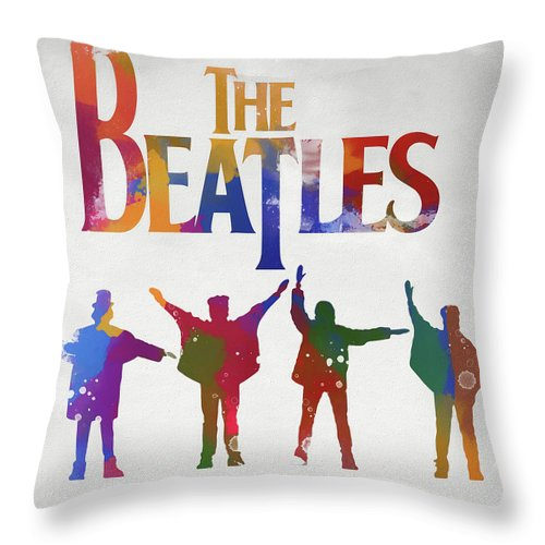 Beatles Watercolor Poster Throw Pillow featuring the painting Beatles Watercolor Poster by Dan Sproul