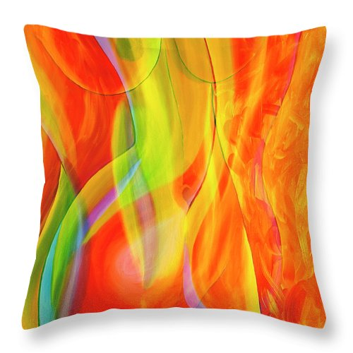 Abstract Throw Pillow featuring the mixed media Beauties 2 by Veikko Suikkanen
