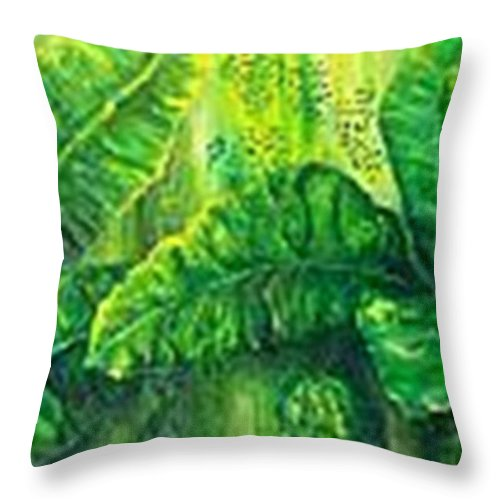 Throw Pillow featuring the painting Beautiful Banana Leaves by Carol P Kingsley