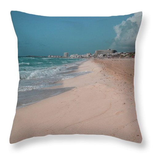 Beach Throw Pillow featuring the digital art Beautiful Beach In Cancun, Mexico by Nicolas Gabriel Gonzalez