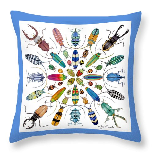 Insects Throw Pillow featuring the painting Beautiful Beetles by Lucy Arnold