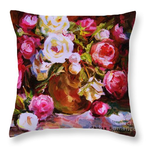 Roses Throw Pillow featuring the painting Beautiful Bouquet by Carole Spandau