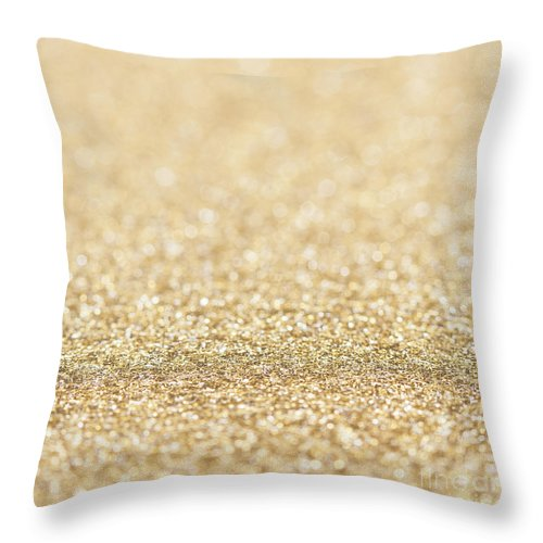 Bokeh Throw Pillow featuring the photograph Beautiful Champagne Gold Glitter Sparkles by PLdesign