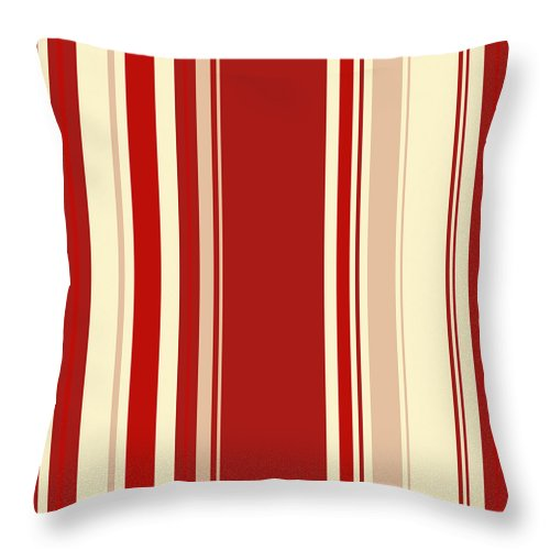 Modern Christmas Stripe Pattern Series Red Currant, Cream, Blush Throw Pillow