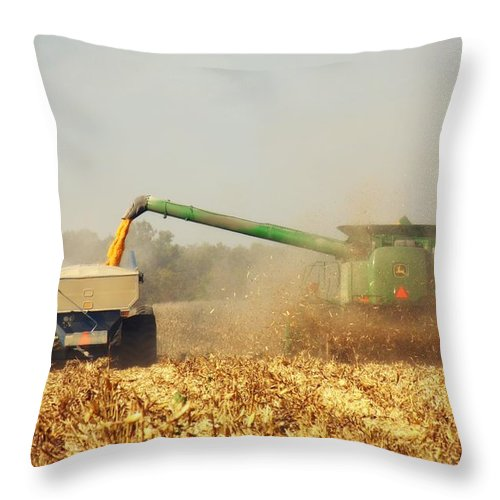 Corn Harvest Throw Pillow featuring the photograph Beautiful Corn Harvest by Goldie Pierce