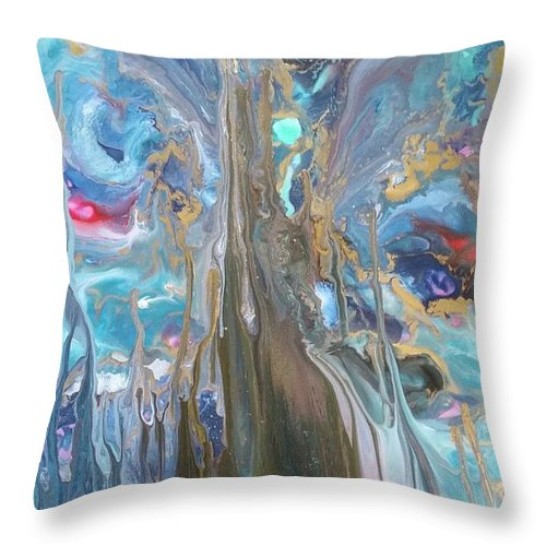 Abstract Throw Pillow featuring the painting Beautiful Disaster by Sam McClain