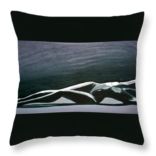 Art Throw Pillow featuring the painting Beautiful Diver by Jarmo Korhonen aka Jarko