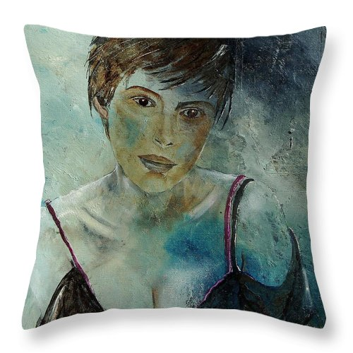 Girl Throw Pillow featuring the painting Beautiful face by Pol Ledent